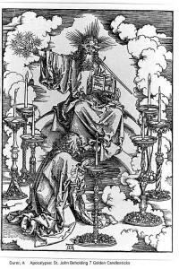 "Durer Woodcut: ""Christ and the Seven Candlesticks"""